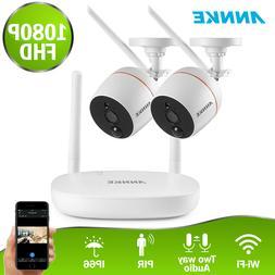 ANNKE Wireless 1080P 4CH NVR 2MP WiFi Security PIR Camera Sy