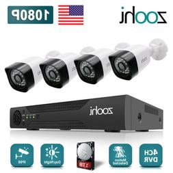 Zoohi 1080P CCTV Security Camera System Outdoor 4CH 1TB Hard