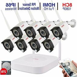 Tonton 8CH NVR 1080P Wireless Camera Security System Home Ou