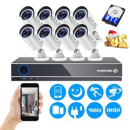 12CH 1080P DVR 1500TVL Outdoor 720P Night Vision Security Ca