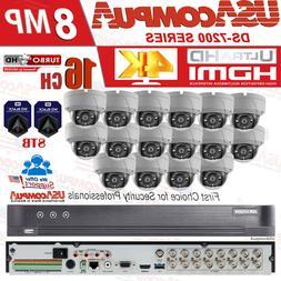 Hikvision 16 Cameras 8MP HOME Security System KIT 4K DVR 8TB