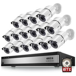 ZOSI 16 Ch Channel Surveillance CCTV DVR 1080p HD Security C