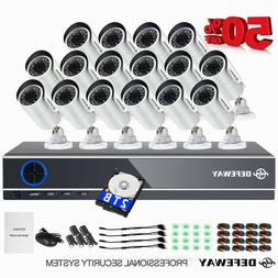 DEFEWAY 16CH 1080P DVR IR-CUT 2.0MP Outdoor Home CCTV Securi