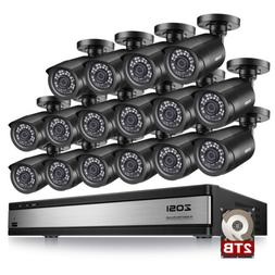 ZOSI 16CH 1080P HDMI DVR 720P Outdoor Home Surveillance Secu