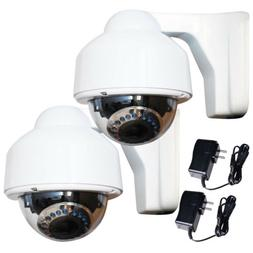 2 Security Cameras Outdoor IR Day Night Varifocal Zoom with