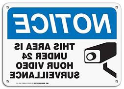 24 Hour Video Surveillance Sign, Security Camera Sign Warnin