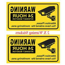 JOOAN 2X Warning Sign Sticker CCTV Security Sticker Decals P