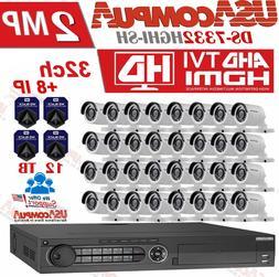 Hikvision 32 CH DVR 32 CAMERAS  SECURITY SYSTEM KIT 2MP 12TB