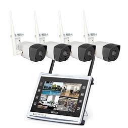 4 Cameras 720P HD LCD Wireless Home Security Surveillance Vi