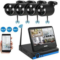 4CH 720P HD Wireless Security Camera System &Monitor CCTV Ou