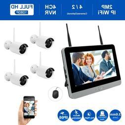 "4CH HD 1080P 12"" LCD Monitor Wireless Wifi IP Security NVR C"