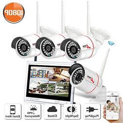 Home Security Camera System Wireless, 1080p 4CH HDMI NVR No