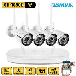 ANNKE 4CH Wireless NVR 1080P 2MP IR Night Security Camera Sy