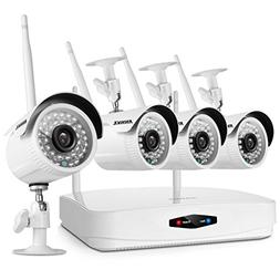 ANNKE 4CH Wireless NVR Security Camera System, Automatic Con