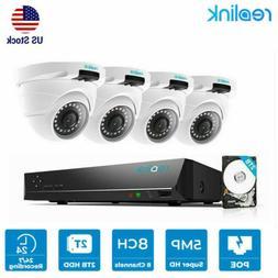 4MP Security Camera Kit 8CH PoE NVR 2TB HDD+ 4 PoE IP Camera