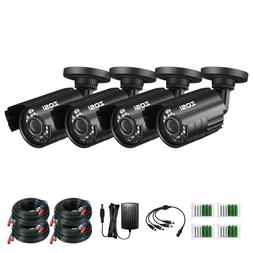 ZOSI 4PK 1080P 4In1 100ft Day Night 36 IR Leds Outdoor CCTV