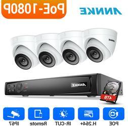 ANNKE 4x 2MP Dome Security Camera 4CH 6MP NVR 1080P Video PO