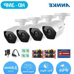 ANNKE 4x 3MP Video Metal Bullet CCTV Security Cameras 115ft