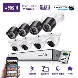 Loocam 8CH HD 5MP Surveillance Security Cameras 2T DVR IR Ou