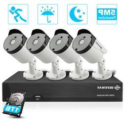 DEFEWAY 5MP Security Cameras System, 4 Channel H.265+ CCTV D