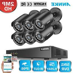 ANNKE 8CH 1080P HDMI DVR 6x 3000TVL IR Outdoor CCTV Home Sec