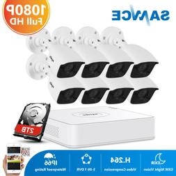 SANNCE H.264+ 8CH DVR 1080P TVI 2MP Video Home Security Came