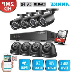 ANNKE 8CH 1080P Lite DVR HD 2MP 3000TVL Outdoor Security Cam