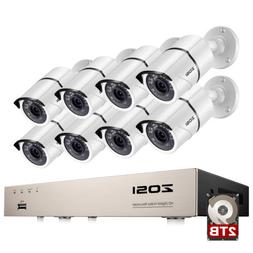 ZOSI 8CH H.265 DVR with Hard Drive 2TB 1080p Outdoor Home Se