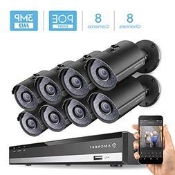 Amcrest 3MP Security Camera System, w/ 4K 8CH PoE NVR,  x 3-