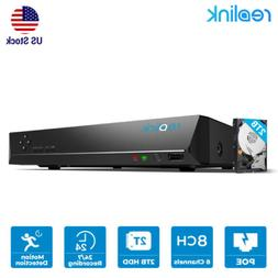 8CH PoE NVR 2TB HDD Network Video Recorder for Reolink Secur
