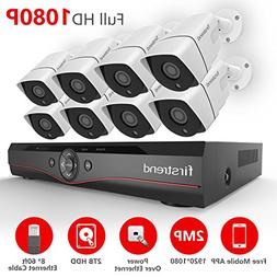 Firstrend 8CH POE NVR Security Camera System with 8x 1080P
