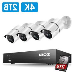 ZOSI 4K HD Security Cameras System with 2T Hard Drive 4CH H.