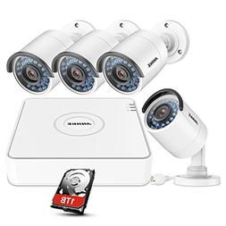 ANNKE 1080P POE NVR Security Camera System with 1TB Hard Dri