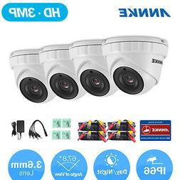 ANNKE 4Pcs HD-TVI 3MP Video Dome Security Camera Outdoor IR