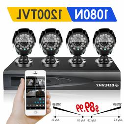 Defeway 4CH 1080N DVR 4 Outdoor 1500TVL HD Home Security Cam
