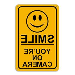 New Smile You're on Camera Yellow Business Security Sign CCT