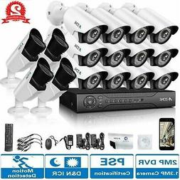 A-ZONE 1080P 16CH DVR AHD Home Security Cameras System Outdo