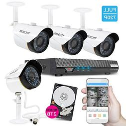 TECBOX 4 Channel 720P AHD Home Security Camera System DVR Re