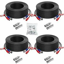 ZOSI 4 Pack 100ft  2-in-1 Video Power Cable, BNC Extension S