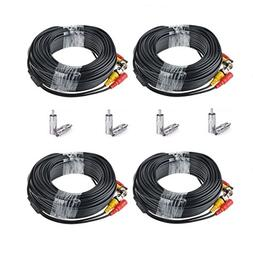 EWETON 4 Pack 100 Feet BNC Video Power Cable Security Camera
