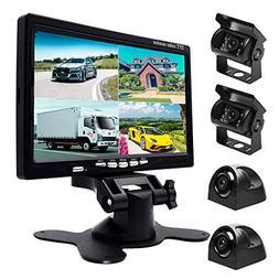 Podofo 9V-24V Car Backup Camera Kit, 7 Inch HD Quad Split Mo