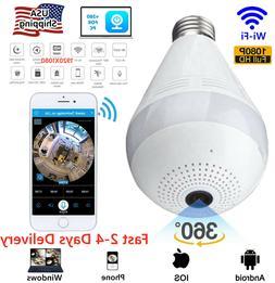 HD 1080P 360° Panoramic Hidden Wi-Fi Camera Light Bulb Dome