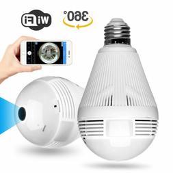 HD 1080P 360 Panoramic Hidden Wifi IP Camera Light Bulb Home