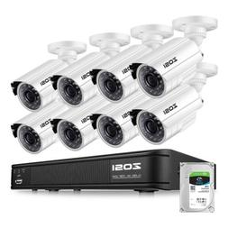 ZOSI HDMI 8CH 720P CCTV IR Outdoor Security Camera DVR Night