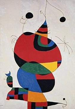 Joan Miró - Woman, Bird and Star, Canvas Art Print, Size 16