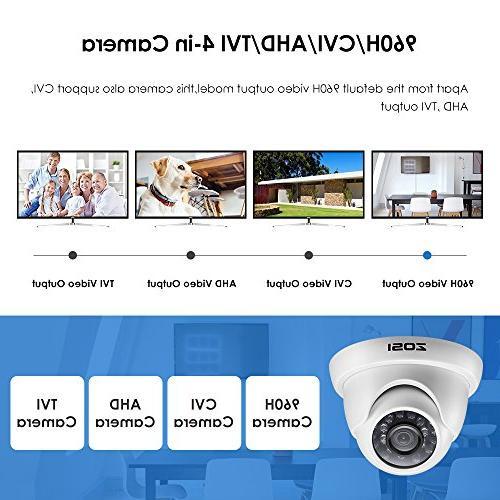 ZOSI 4 1080p Dome Dome Camera Vision Up