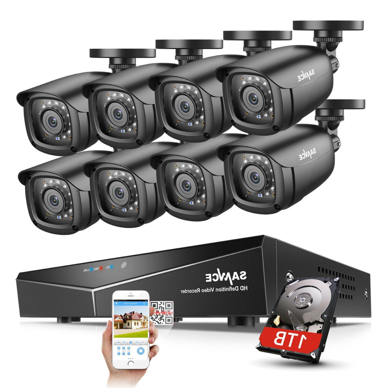 SANNCE 1080P HDMI HD-TVI 8CH / 4CH DVR IR CUT CCTV Security