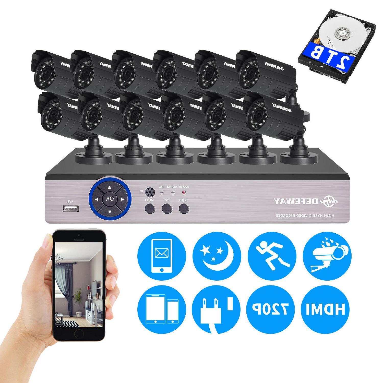 12CH 1080P DVR 1500TVL Outdoor 720P Night Vision Security Ca