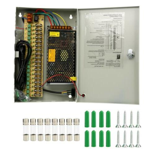 18CH PORTS Security Camera Power Supply Box DC 12V 20A Distr