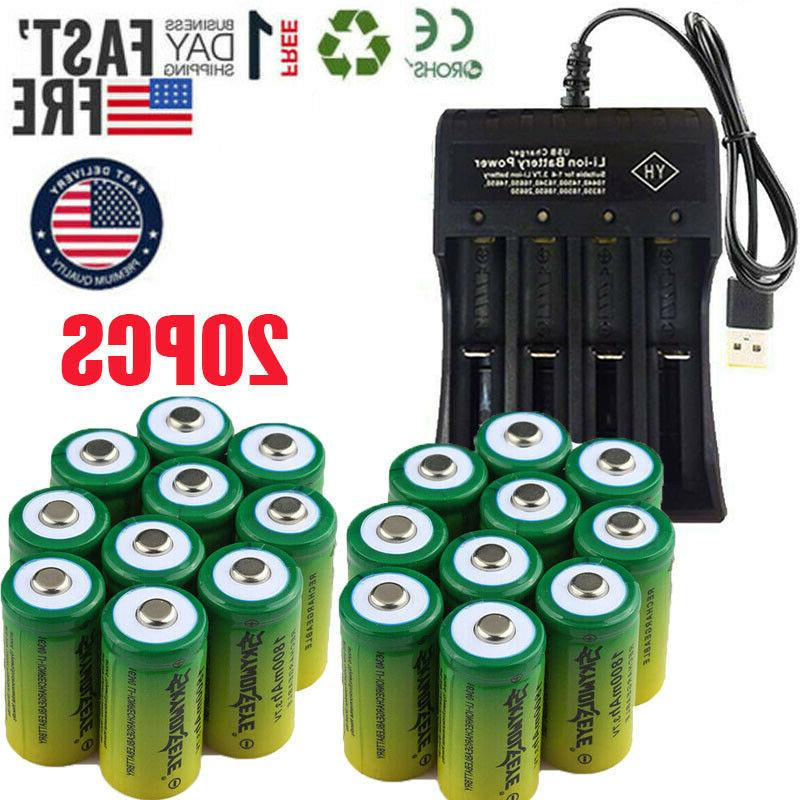 20PCS 16340 Rechargeable 3.7V CR123A Arlo Security